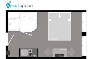Studio luxe floor plan